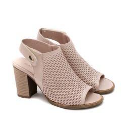 Дамски сандали на ток от естествена кожа в цвят пудра-1631