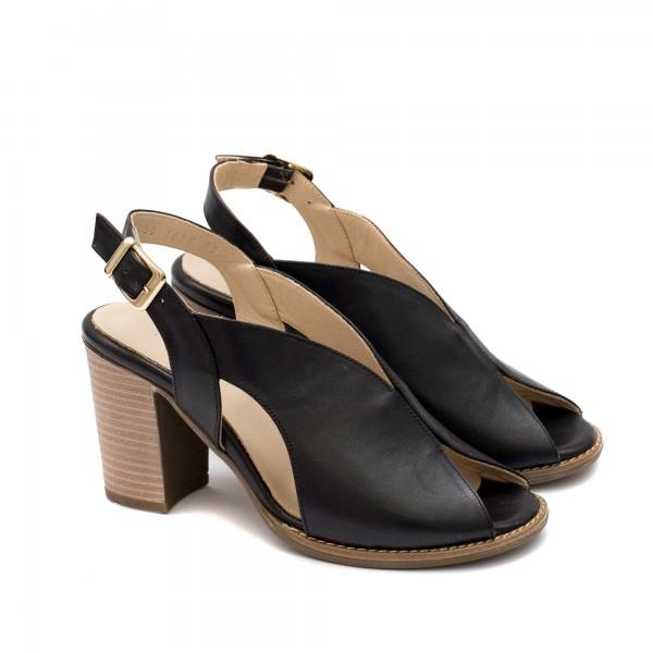 Дамски сандали на ток от висококачествена естествена кожа в класически черен цвят-1636