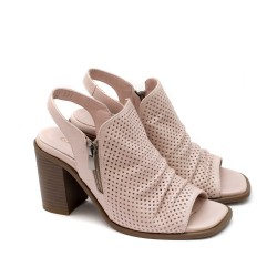 Стилни дамски сандали от естествена кожа на ток в цвят пудра и цип-1638