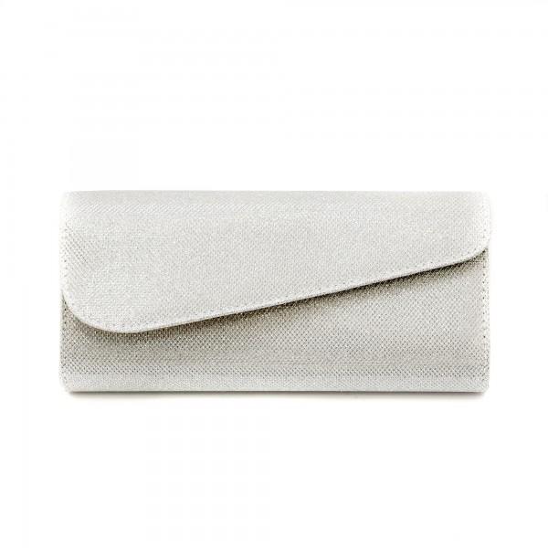 Дамска чанта тип клъч от сребрист брокат-1153