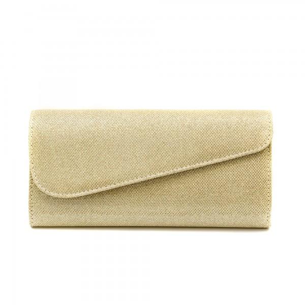 Дамска чанта тип клъч от златен брокат-1153
