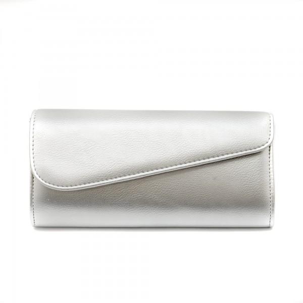 Дамска чанта тип клъч от еко кожа в сребрист цвят-1154