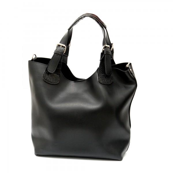 Дамска чанта в черен цвят от еко кожа с кроко елементи-704