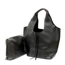 Дамска ежедневна чанта в черен цвят от еко кожа тип торба-439