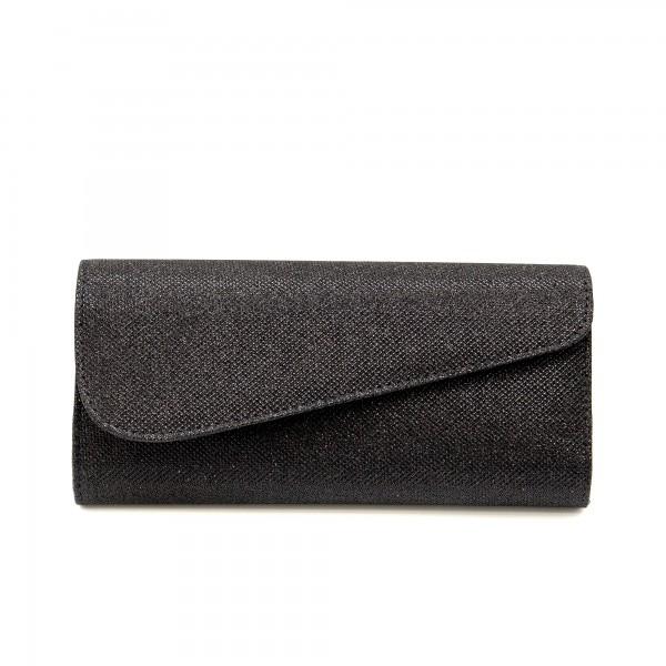 Дамска чанта тип клъч от черен брокат-1153