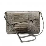 Дамска чанта тип клъч със сиво кроко от еко кожа-1162