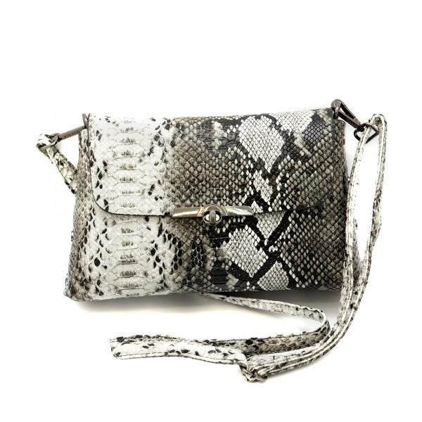 Дамска малка елегантна чанта със змийски принт от еко кожа-1159