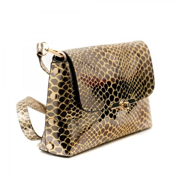 Златна елегантна малка дамска чанта от еко кожа змия-1159