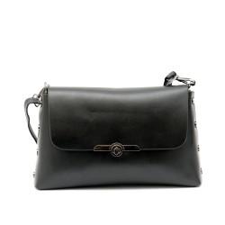 Дамска малка чанта в черен цвят от еко кожа и капси-1159