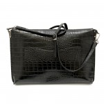 Дамска чанта тип клъч с черно кроко от еко кожа-1162