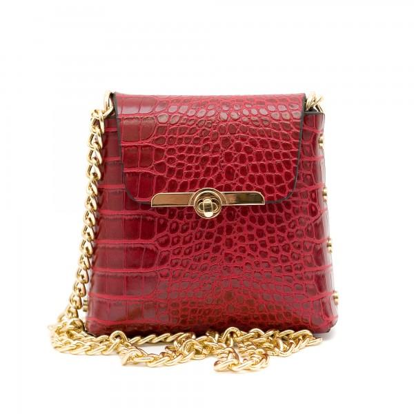 Червена малка кокетна чанта от еко кожа-137
