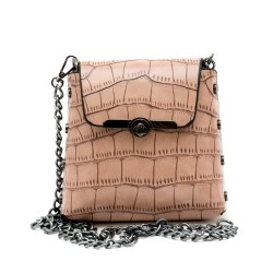 Малка дамска чанта от еко кожа в цвят пудра-137