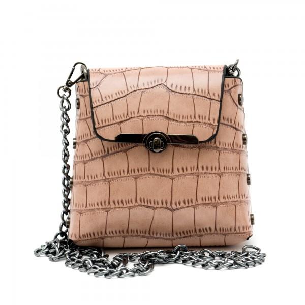 Малка дамска чанта от еко кожа в цвят бежово-137