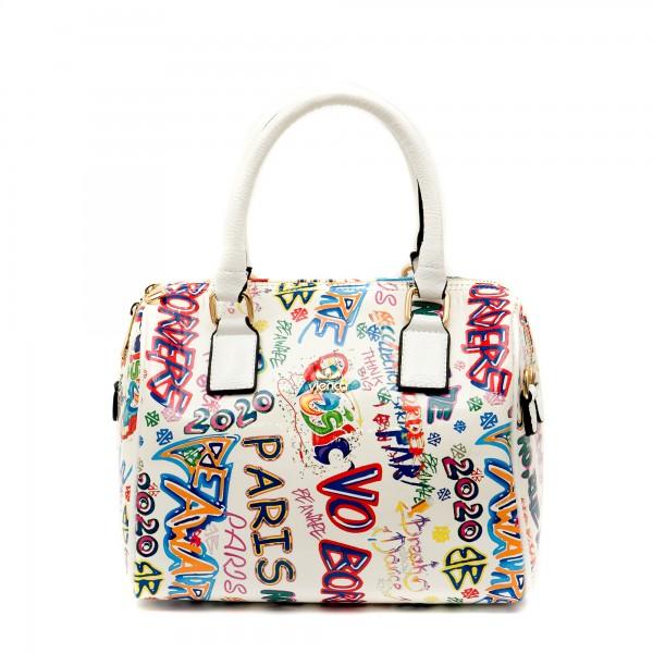 Бяла дамска чанта с интересни многоцветни надписи-1157