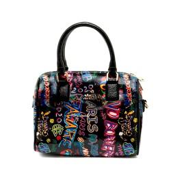 Дамска чанта в черно с интересни многоцветни надписи-1157