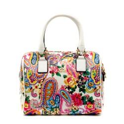 Модерна чанта от  бял еко лак с флорални мотиви-1157