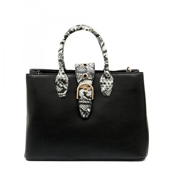 Дамска елегантна чанта от еко кожа с змийски ефект-988