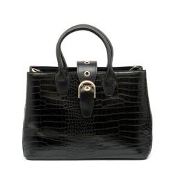 Елегантна дамска чанта от еко кроко кожа в черен цвят-988