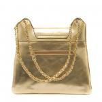 Златна вечерна дамска чанта с лъскав ефект-1155