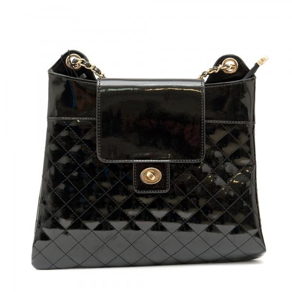 Официална лачена черна дамска чанта от еко кожа-1155