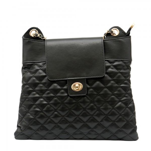 Черна иновативна дамска чанта с модерен дизайн-1155