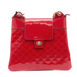Луксозна лачена червена дамска чанта от еко лак с златни синджири-1155