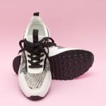 Ежедневни дамски маратонки от естествена кожа в бял цвят и змийски мотив с връзки-1549