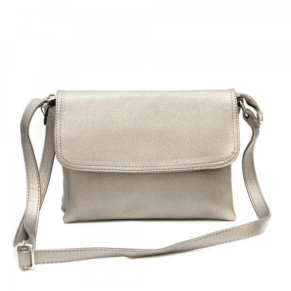 Малка сива чанта от еко кожа за рамо-1160