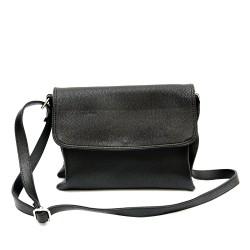 Ефектна и практична ежедневна дамска чанта от еко кожа в черно-1160