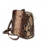Ежедневна малка дамска чанта от еко кожа с кафяв змийски принт-981