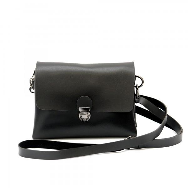 Класическа дамска черна малка чанта от еко кожа-1158