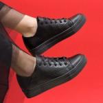 Пролетни български обувки от естествена кожа в черно и кроко змия с връзки-1553