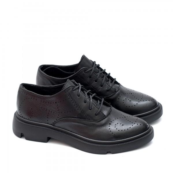 Дамски обувки от естествена кожа в черен цвят с връзки на модерно ходило-1554