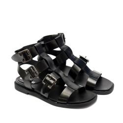 Римски дамски сандали от естествена кожа, черни с катарами- 863