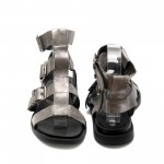 Римски сиви сандали от естествена кожа с равна подметка -864