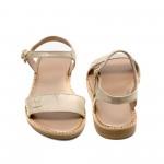 Златни равни сандали от естествена кожа в златисто-873