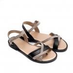 Дамски сандали от естествена кожа черни в комбинация пудра-875