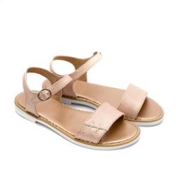 Ниски дамски сандали от естествена кожа в свеж розов цвят и ефектни частици-877