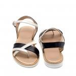 Ниски сандали от естествена кожа с ефектна комбинация сини и сребро-876