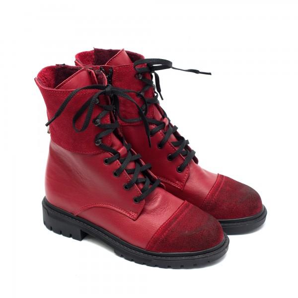 Червени боти от естествена кожа и велур с връзки и цип-924