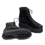 Дамски черни боти от естествен велур на плътно ходило и грайфер-992