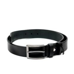 Дамски стилен черен колан със сива тока от естествена кожа-016