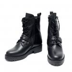 Черни дамски боти от естествена кожа с грайферно ходило-956