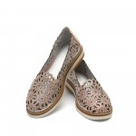 Дамски обувки от естествена кожа розови с перфорация - 173
