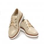 Дамски пролетни обувки от естествена кожа златисти - 376