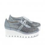 Дамски пролетни обувки от естествена кожа с перфорация сини - 381