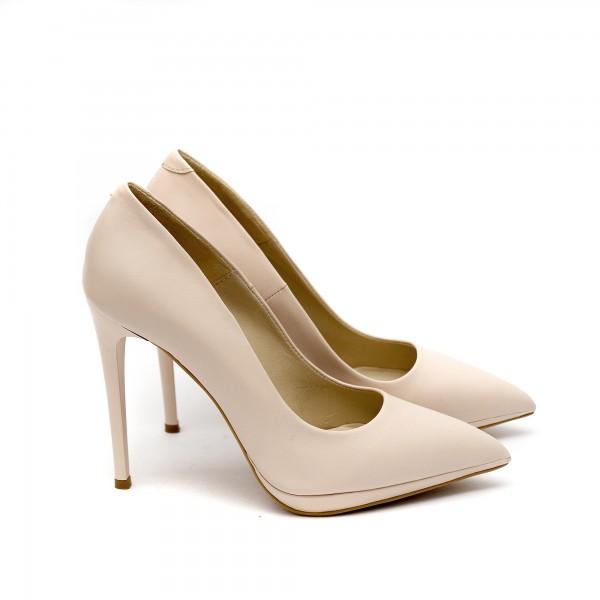 Дамски елегантни обувки от естествена кожа бежови с ток - 374