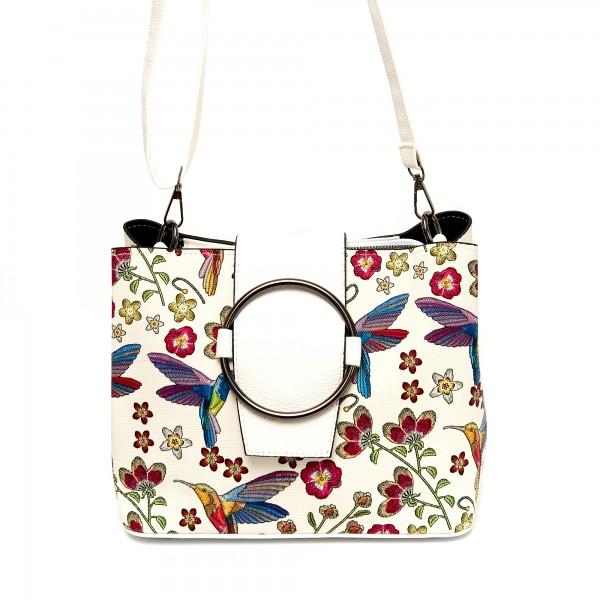 Луксозна дамска бяла чанта от еко кожа с цветя и птици-Б502