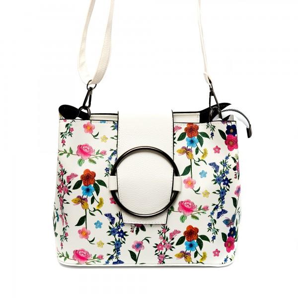 Кокетна дамска чанта от еко кожа с  палитра от цветя-В502