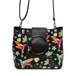 Ежедневна дамска чанта с флорални мотиви от еко кожа-Д502